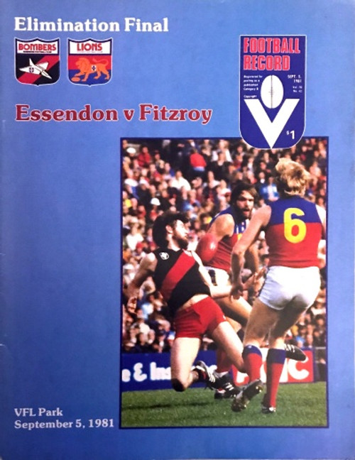 1981 ESSENDON V FITZROY Elimination Final Football Record