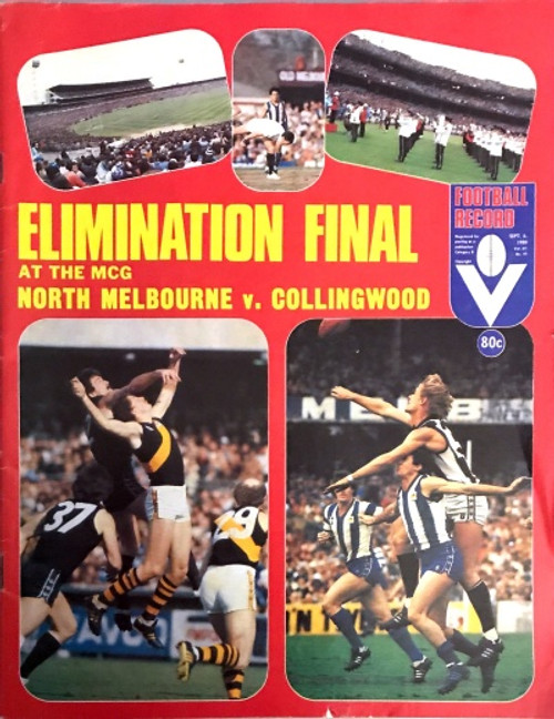 1980 NORTH MELBOURNE V COLLINGWOOD Elimination Final Football Record