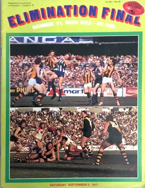 1977 RICHMOND V SOUTH MELBOURNE Elimination Final Football Record