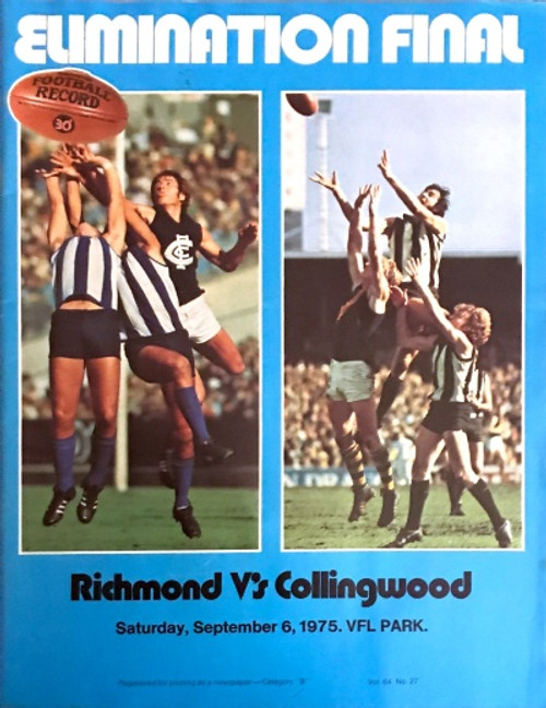 1975 RICHMOND V COLLINGWOOD Elimination Final Football Record