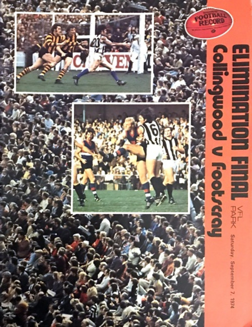 1974 COLLINGWOOD V FOOTSCRAY Elimination Final Football Record