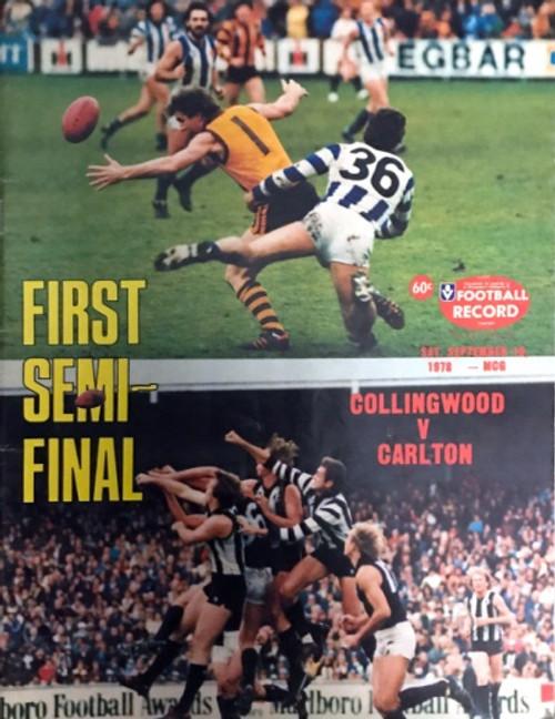 1978 COLLINGWOOD V CARLTON 1ST Semi Final Football Record