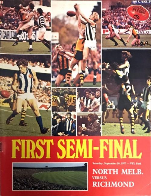 1977 NORTH MELBOURNE V RICHMOND 1ST Semi Final Football Record