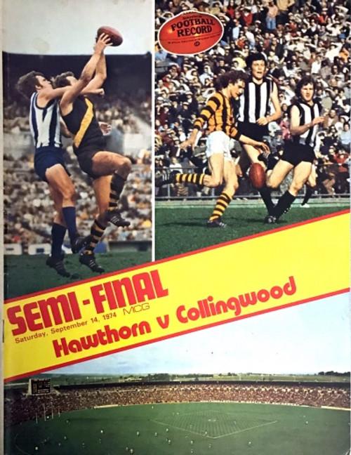 1974 HAWTHORN V COLLINGWOOD 1ST Semi Final Football Record