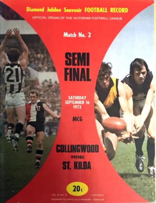 1972 COLLINGWOOD V ST KILDA 1ST Semi Final Football Record
