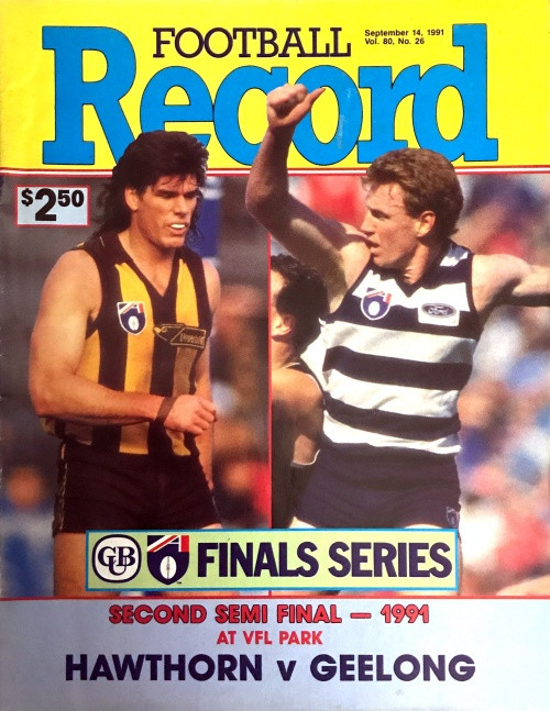 1991 HAWTHORN V GEELONG 2ND Semi Final Football Record