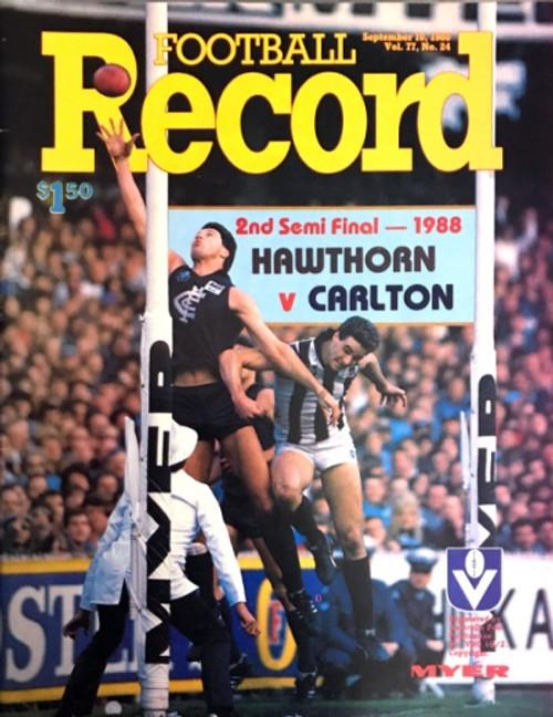 1988 HAWTHORN V CARLTON 2ND Semi Final Football Record