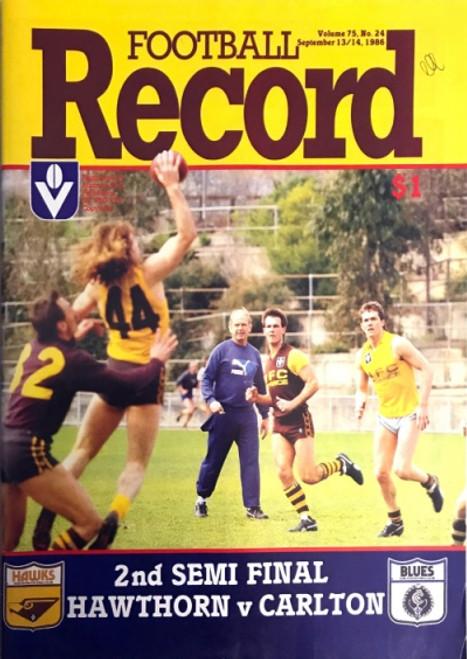 1986 HAWTHORN V CARLTON 2ND Semi Final Football Record