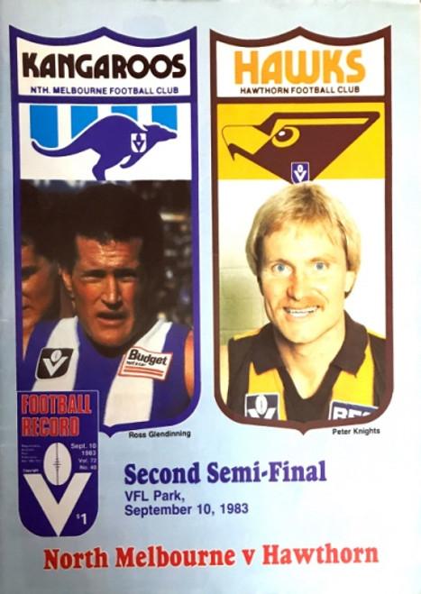1983 NORTH MELBOURNE V HAWTHORN 2ND Semi Final Football Record
