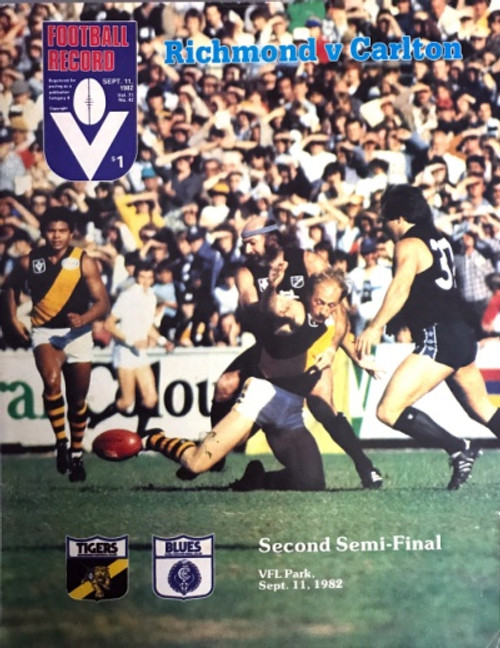 1982 RICHMOND V CARLTON 2ND Semi Final Football Record