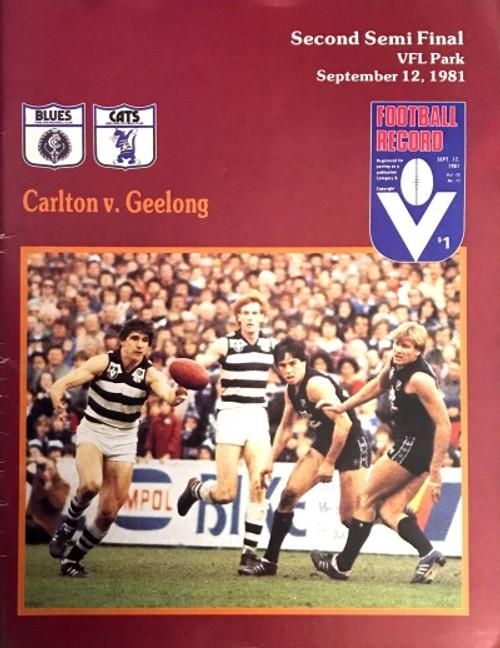 1981 CARLTON V GEELONG 2ND Semi Final Football Record