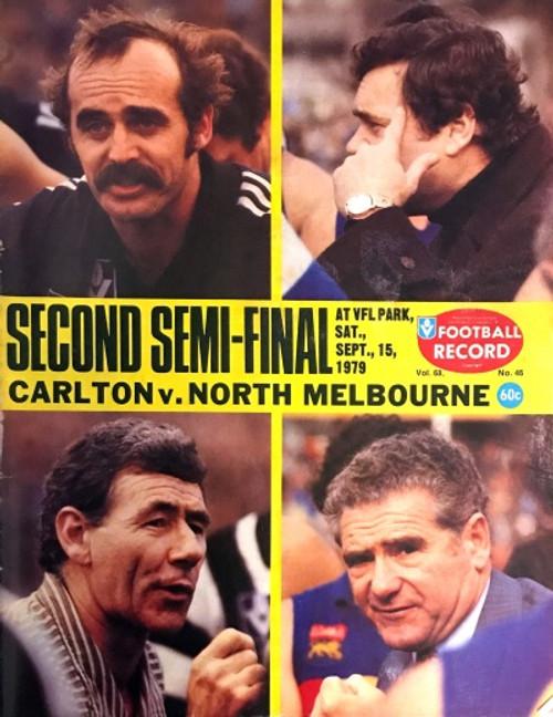 1979 CARLTON V NORTH MELBOURNE 2ND Semi Final Football Record