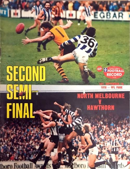 1978 NORTH MELBOURNE V HAWTHORN 2ND Semi Final Football Record