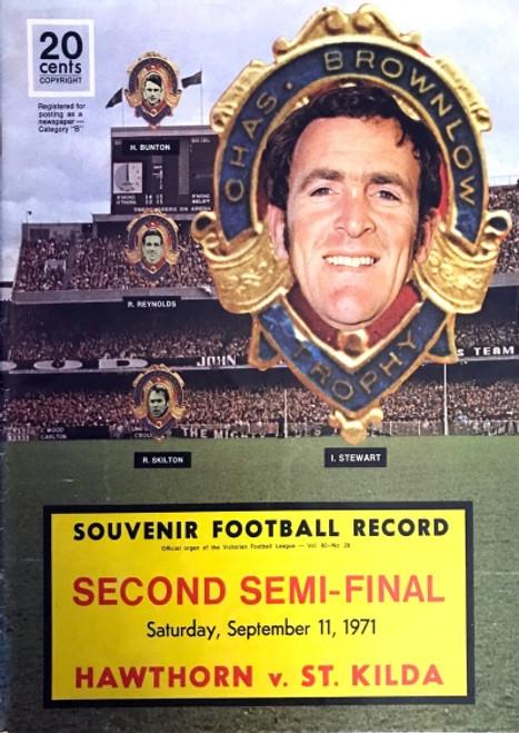 1971 HAWTHORN V ST KILDA 2ND Semi Final Football Record