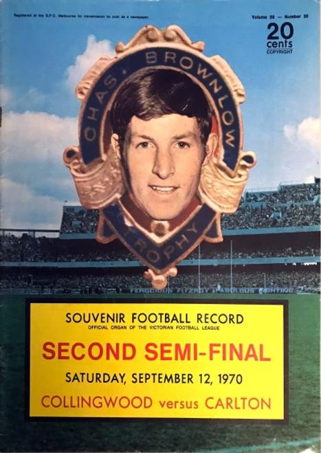 1970 COLLINGWOOD V CARLTON 2ND Semi Final Football Record