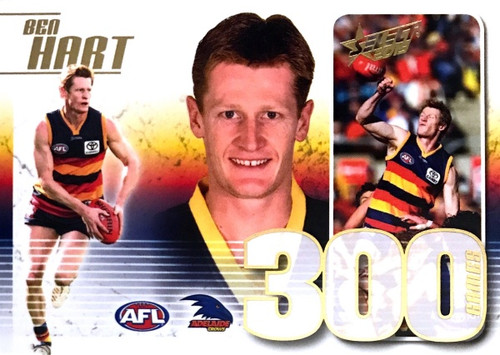 2019 AFL Select BEN HART Adelaide Crows 300 Games Case Card