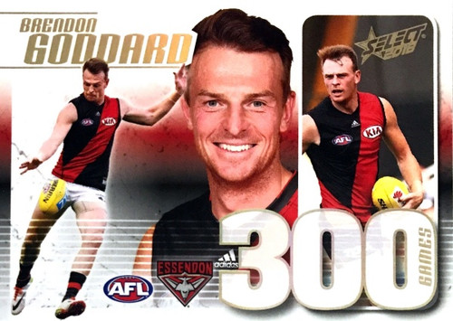 2018 AFL BRENDON GODDARD Essendon Bombers 300 Game Case Card