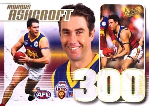 2014 AFL MARCUS ASHCROFT Brisbane Lions 300 Game s Case Card