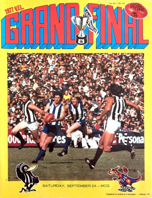 1977 COLLINGWOOD V NORTH MELBOURNE Grand Final Football Record