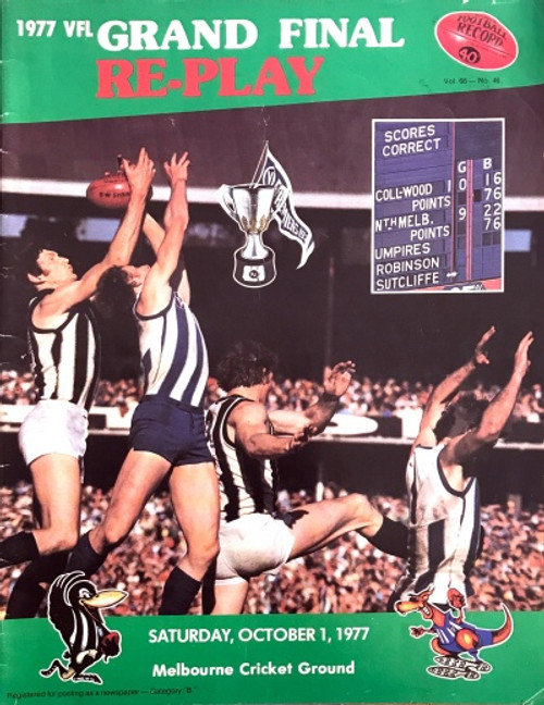 1977 COLLINGWOOD V NORTH MELBOURNE Grand Final Replay Football Record