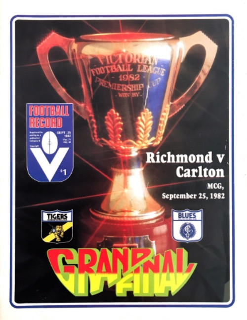 1982 RICHMOND V CARLTON Grand Final Football Football Record
