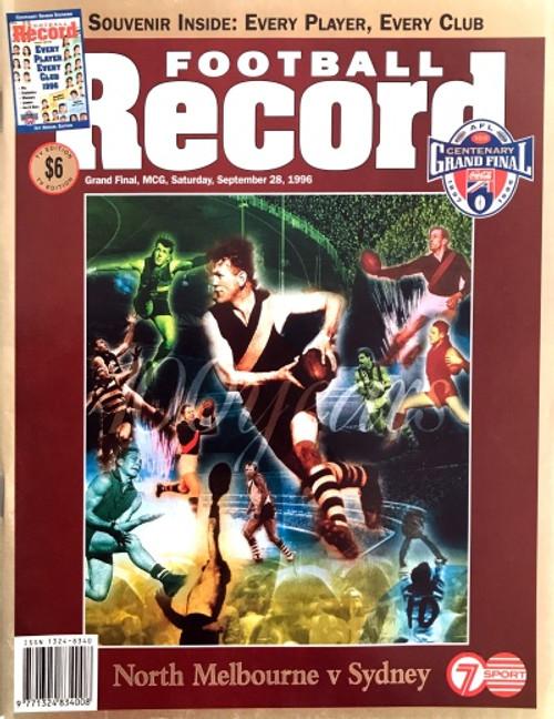 1996 NORTH MELBOURNE V SYDNEY SWANS Grand Final Football Record