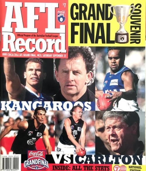 1999 NORTH MELBOURNE V CARLTON Grand Final Football Record