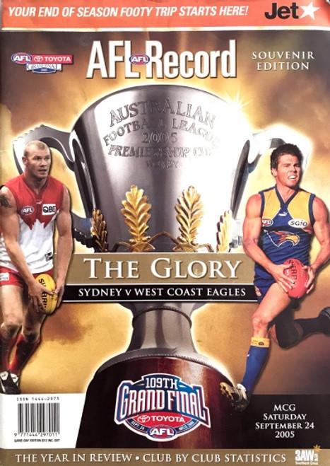2005 SYDNEY SWANS V WEST COAST EAGLES Grand Final Football Record