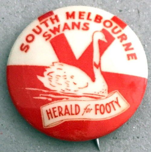 1962 Herald For Footy SOUTH MELBOURNE SWANS Badge