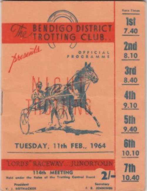 BENDIGO DISTRICT TROTTING CLUB TUESDAY 11th FEBRUARY 1964