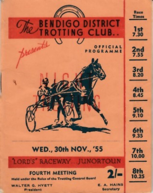 BENDIGO DISTRICT TROTTING CLUB, WEDNESDAY 30th NOVEMBER 1955 RACEBOOK
