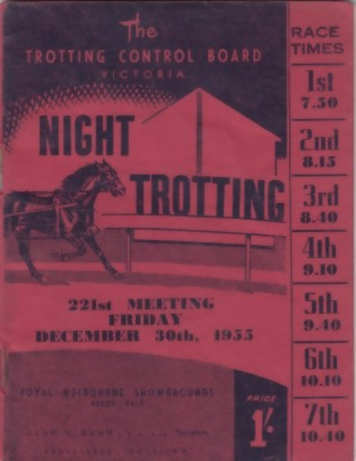 ROYAL MELBOURNE SHOWGROUNDS, A G HUNTER CUP MEETING FRIDAY DECEMBER 30th 1955 RACEBOOK