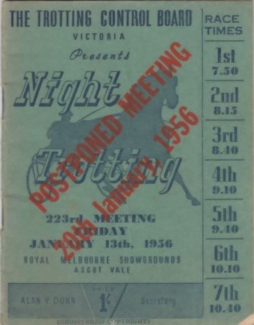 ROYAL MELBOURNE SHOWGROUNDS FRIDAY JANUARY 13th 1956 RACEBOOK