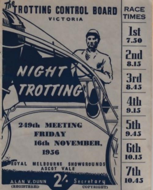 ROYAL MELBOURNE SHOWGROUNDS FRIDAY 16th NOVEMBER 1956 RACEBOOK