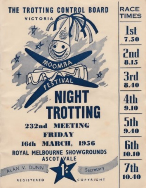 ROYAL MELBOURNE SHOWGROUNDS MOOMBA CUP MEETING 16th MARCH 1956 RACEBOOK