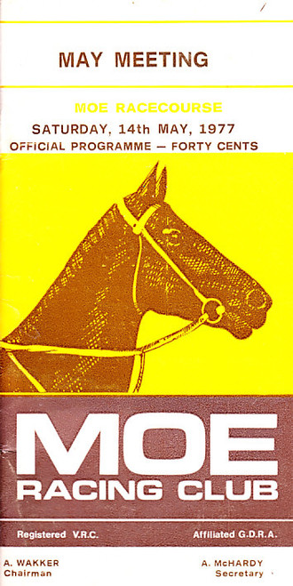 MOE RACING CLUB MAY MEETING 14th MAY 1977 RACEBOOK