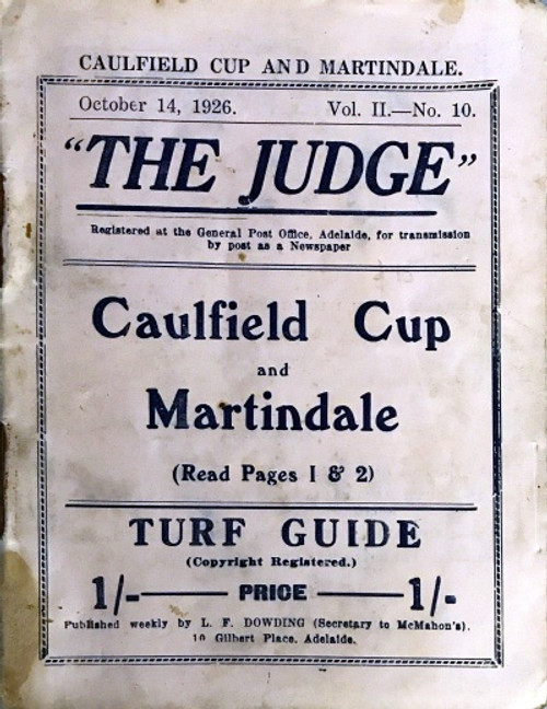 The JUDGE-October 14,1926 THE JUDGE Caufield Cup and Martindale Turf Guide