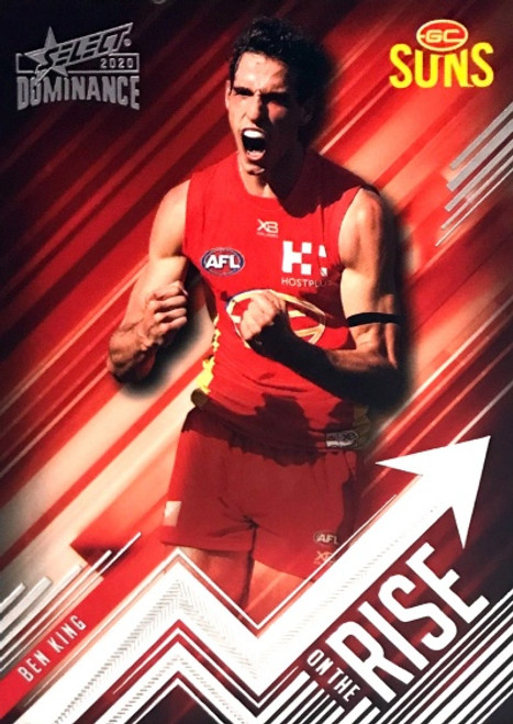 2020 AFL SELECT DOMINANCE BEN KING GOLD COAST SUNS ON THE RISE CARD