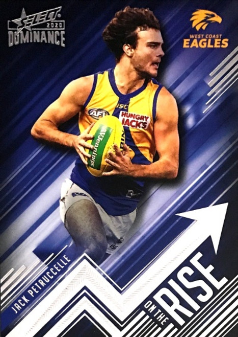 2020 AFL SELECT DOMINANCE JACK PETRUCCELLE WEST COAST EAGLES ON THE RISE CARD