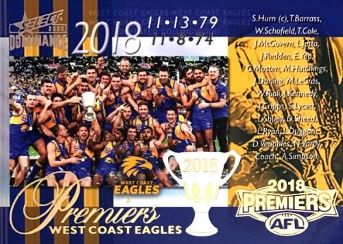 2020 AFL SELECT DOMINANCE 2018 WEST COAST EAGLES PREMIERS CARD