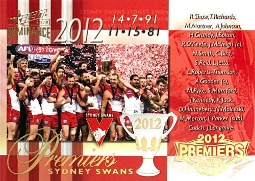 2020 AFL SELECT DOMINANCE 2012 SYDNEY SWANS PREMIERS CARD