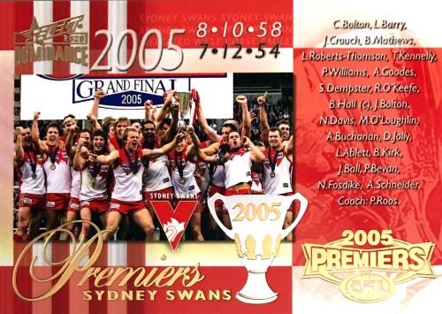 2020 AFL SELECT DOMINANCE 2005 SYDNEY SWANS PREMIERS CARD
