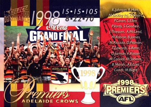 2020 AFL SELECT DOMINANCE 1998 ADELAIDE CROWS PREMIERS CARD