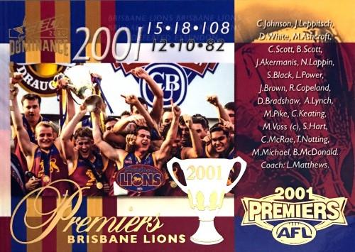 2020 AFL SELECT DOMINANCE 2001 BRISBANE LIONS PREMIERS CARD