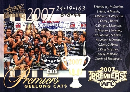 2020 AFL SELECT DOMINANCE 2007 GEELONG CATS PREMIERS CARD