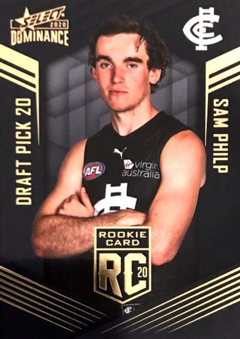2020 AFL SELECT DOMINANCE CARLTON BLUES SAM PHILIP DRAFT PICK ROOKIE CARD
