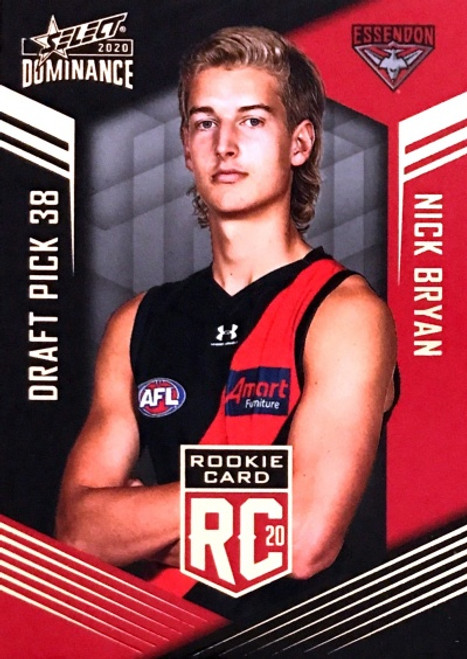 2020 AFL SELECT DOMINANCE ESSENDON BOMBERS NICK BRYAN DRAFT PICK ROOKIE CARD