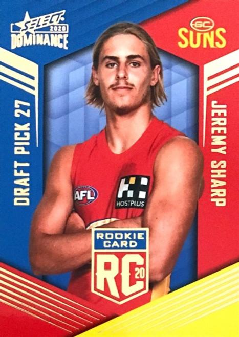 2020 AFL SELECT DOMINANCE GOLD COAST SUNS JEREMY SHARP DRAFT PICK ROOKIE CARD