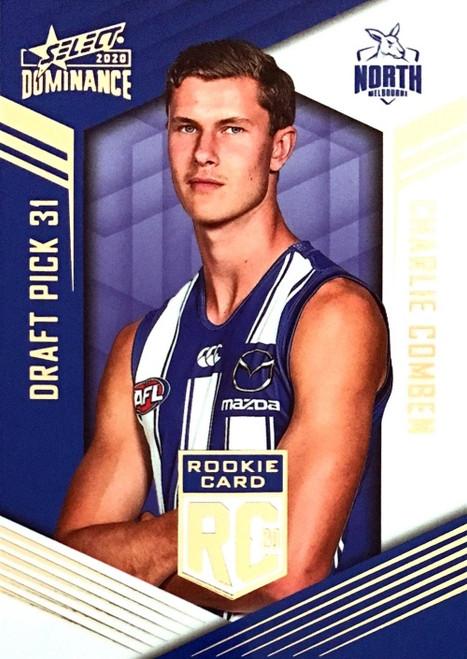 2020 AFL SELECT DOMINANCE NORTH MELBOURNE KANGAROOS CHARLIE COMBEN DRAFT PICK ROOKIE CARD