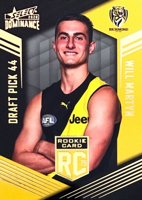 2020 AFL SELECT DOMINANCE RICHMOND TIGERS WILL MARTYN DRAFT PICK ROOKIE CARD